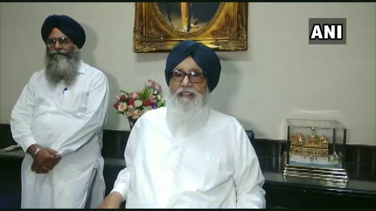 Prakjash Singh Badal made an announcement about the SAD candidates contesting from Bathinda and Ferozepur Lok Sabha constituency on Tuesday. [Photo/ANI]