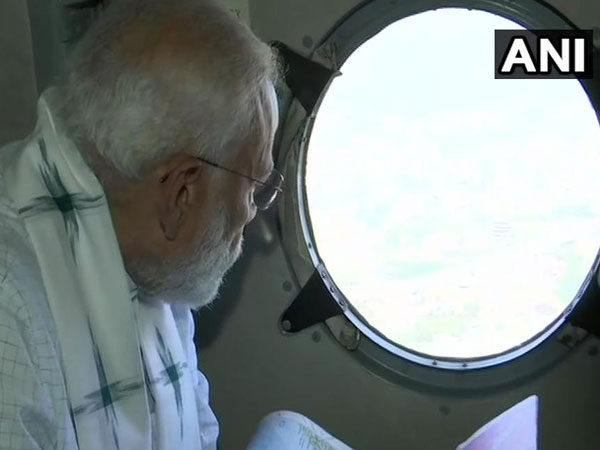 PM Modi carries out an ariel survey of flood affected areas in Odisha