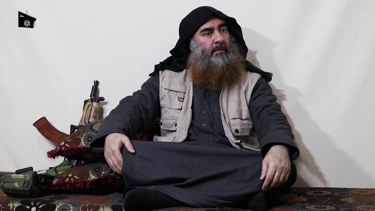 A still from a video released by Islamic State of Iraq and the Levant of its chief, Abu Bakr al-Baghdadi on Monday.