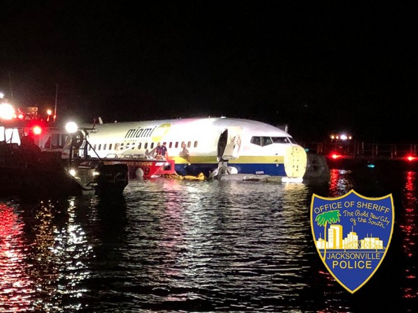 Visual of a Boeing 737 that skidded off from runway into river, no casualties