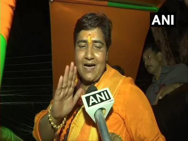 Pragya Singh Thakur speaking to ANI. Photo/ANI