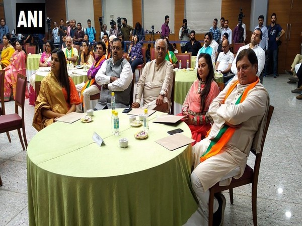 Bollywood and other celebrities at an event organised by the BJP in New Delhi on Sunday. Photo/ANI
