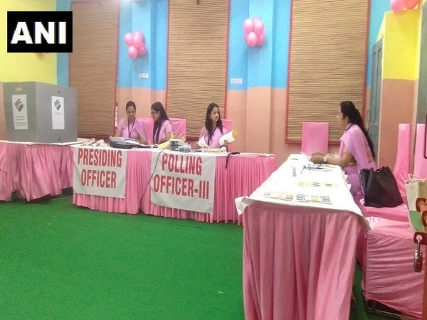 Polling officials gear up for voting at one of the polling stations of the East Delhi constituency. Photo/ANI