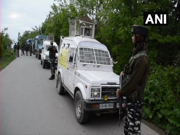 Security forces at the encounter site in Shopian on Sunday. (Photo/ANI(