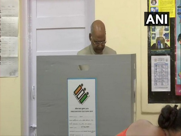 President Ram Nath Kovind casts his vote at a polling booth in Rashtrapati Bhavan