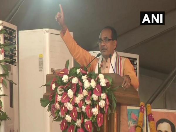Former Madhya Pradesh Chief Minister Shivraj Singh Chouhan addressing a gathering in Indore on Sunday. Photo/ANI