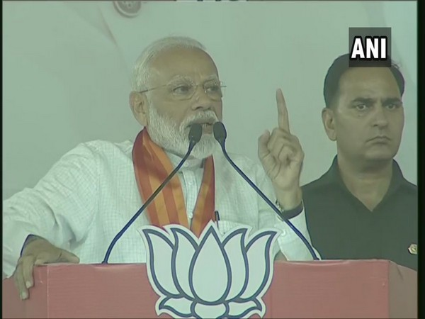 Prime Minister Narendra Modi addressing an election rally in Chandigarh on Tuesday. Photo/ANI