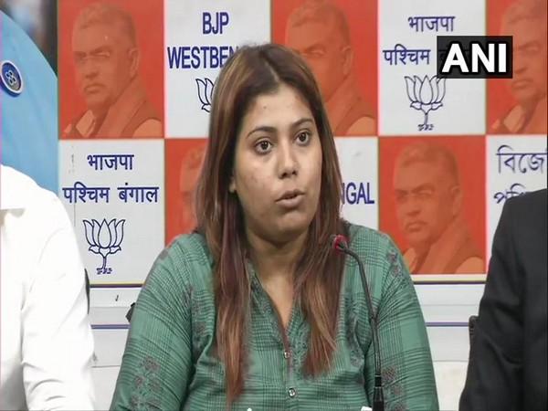 BJP youth wing member Priyanka Sharma speaking to media persons in Kolkata on Wednesday. Photo/ANI