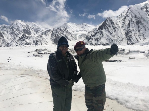 AOC-IN-C, Western Air Command, R Nambiar visited Kumar Post at 17,000 feet in Sicahen Glacier. Photo/ANI