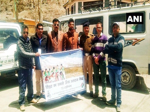 A polling team on Friday reached world's highest polling station at Tashigang in Lahaul-Spiti, which goes to polls on May 19. (Source: ANI)