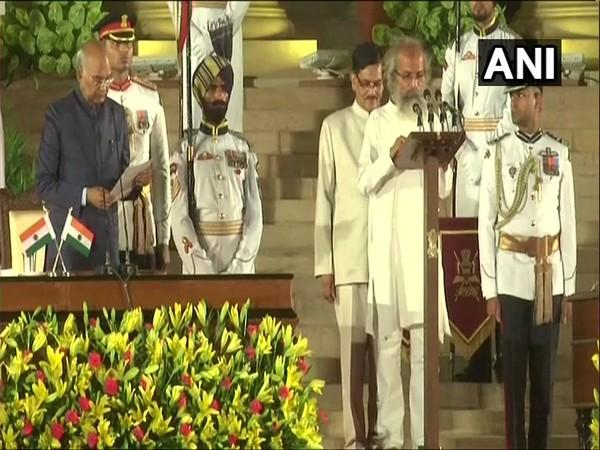 Pratap Chandra Sarangi taking the oath in New Delhi on Thursday. Photo/ANI