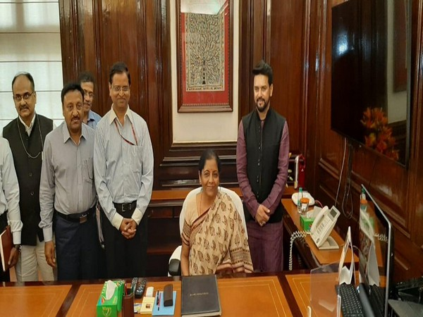 Union Finance Minister Nirmala Sitharaman in her office in New Delhi on Friday. Photo/ANI