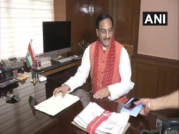 Ramesh Pokhriyal Nishank taking charge as Human Resource Development Minister on Friday.