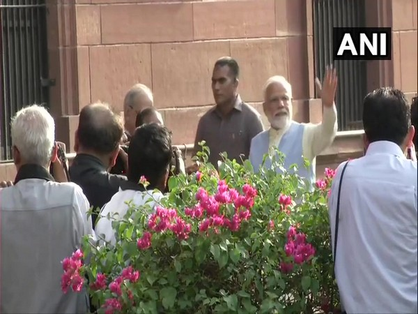 Prime Minister Narendra Modi arrives at South Block to chair the Cabinet meeting in New Delhi. Photo/ANI