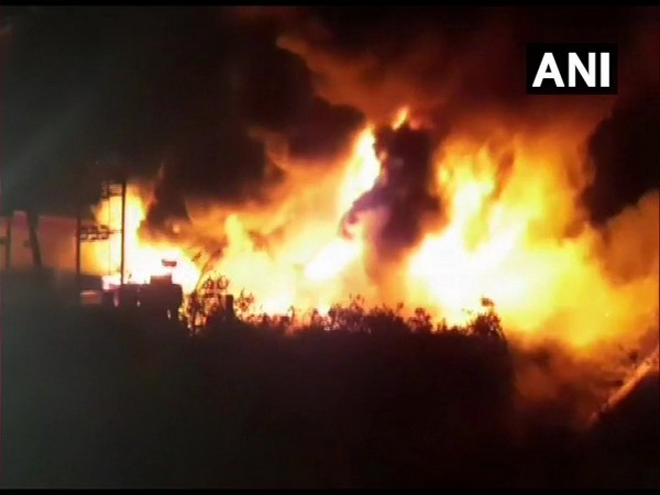 Fire at a chemical factory in Valsad. Photo/ANI