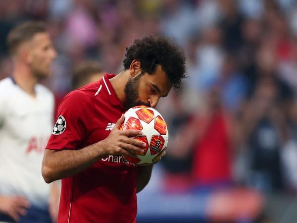 Liverpool player Mohamed Salah after strking goal against Tottenham Hotspurs (Photo/UEFA Champions League Twitter)