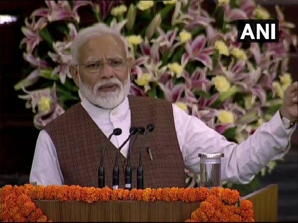 Prime Minister Narendra Modi addressing newly elected MPs in parliament's central hall on Saturday. Photo/ANI