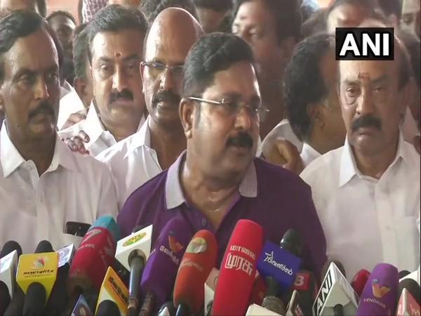 AMMK leader TTV Dhinakaran speaking to media person in Chennai on Sunday. Photo/ANI