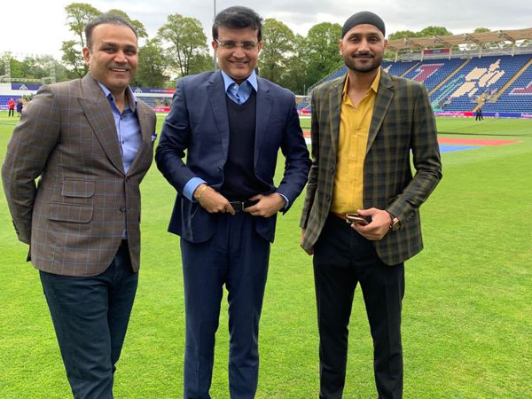 Former Indian cricketers Virender Sehwag, Sourav Ganguly and Harbhajan Singh (Photo/ Virender Sehwag Twitter)