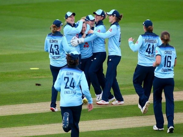England team celebrating a wicket in the third ODI against Windies on Thursday (Photo/ England Cricket Twitter)