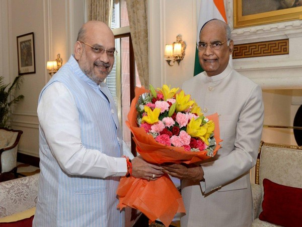 Home Minister Amit Shah (L) with President Ram Nath Kovind in New Delhi on Wednesday. Photo/ANI
