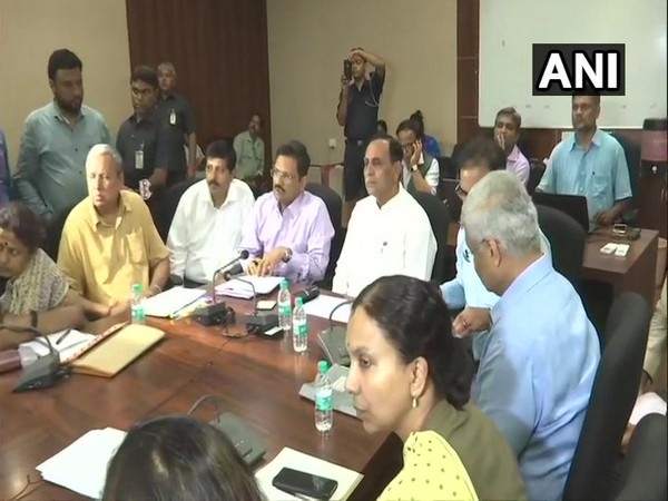 Chief Minister Vijay Rupani chaired a meeting of state and Central government officials concerned to take stock of situations as cyclone Vayu inched closer to Gujarat coast. (Photo/ANI)