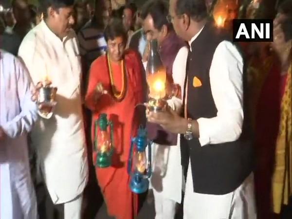 BJP Bhopal lawmaker Pragya Singh Thakur leading the march in Bhopal on Wednesday. Photo/ANI