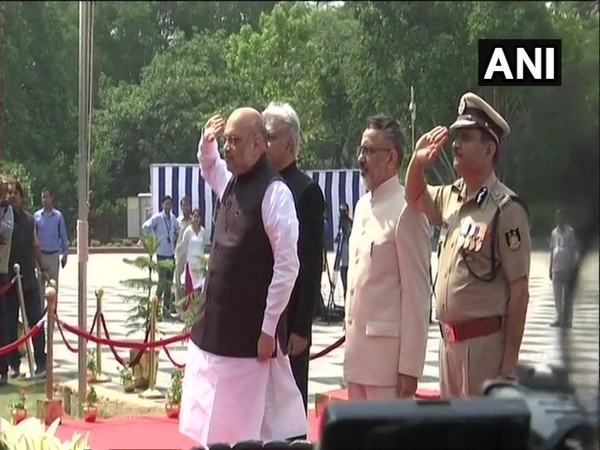 Union Home Minister Amit Shah at the National Police Memorial in New Delhi on Sunday. Photo/ANI