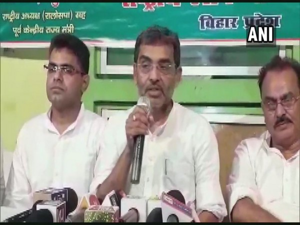 RLSP leader Upendra Kushwaha addressing a press conference in Patna on Monday. Photo/ANI
