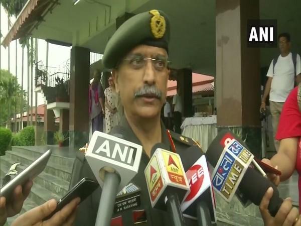 Eastern Army Commander Lt Gen M M Naravane talking to media persons in Kolkata on Monday. Photo/ANI