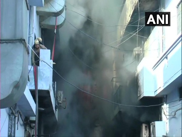 Fire at three garment factories on Noorwala road in Ludhiana on Friday. Photo/ANI