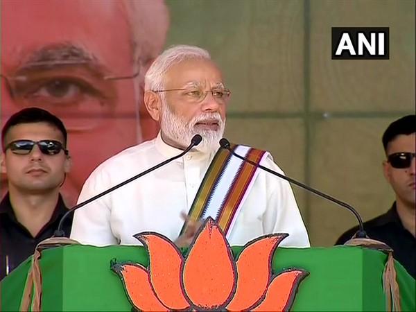 Prime Minister Narendra Modi addressing a gathering in Guruvayur in Thrissur of Kerala on Saturday. (Photo/ANI)