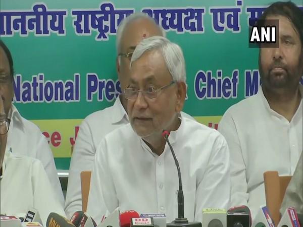 Bihar Chief Minister Nitish Kumar addressing a press conference in Patna, Bihar, on Saturday. Photo/ANI