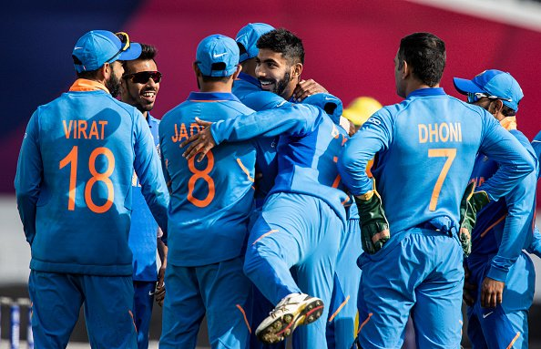 Indian team celebrating a wicket against Australia in World Cup on Sunday. (Photo/ BCCI Twitter)