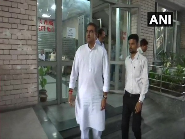 Former Aviation Minister Praful Patel comes out of the ED office after first day of questioning in New Delhi on Monday. (Photo/ANI)