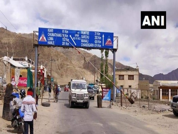 First civilian vehicles arrive in Leh on Monday. Photo/ANI