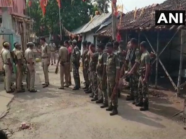 Police officials deployed at Kankinara area (North 24 Parganas) after the explosion. [Photo/ANI]