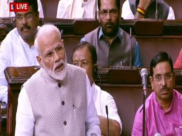 Narendra Modi speaking in Rajya Sabha in New Delhi on Wednesday. Photo/ANI