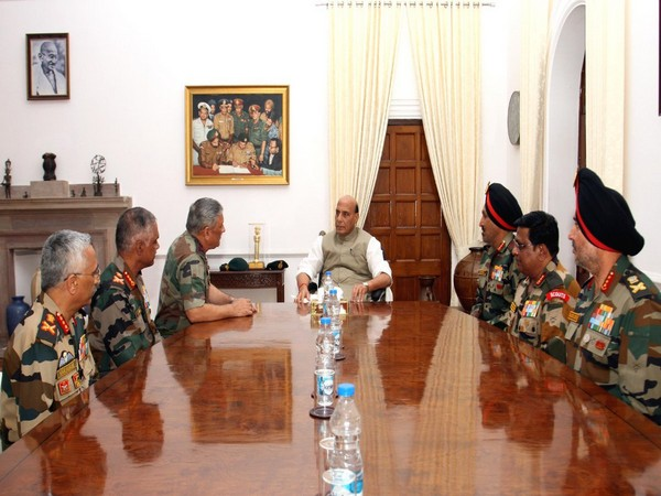 Defence Minister Rajnath Singh met top Army Commanders in South Block on Friday.