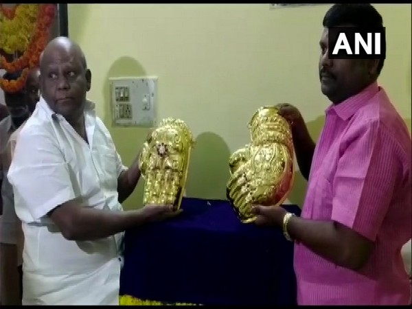 Tangadorai, resident of Tamil Nadu, donating 'Abhaya Hastam' and 'Kati Hastam' to Tirupati Balaji temple in Tirumala