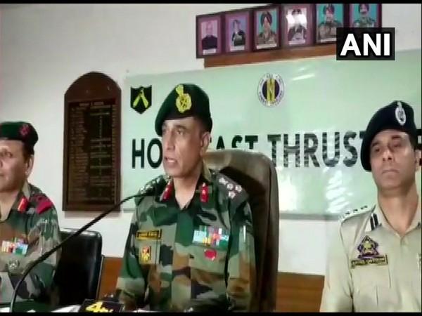 79 Mountain Brigade Commander, Brigadier Girish Kalia while addressing a press conference on Saturday. Photo/ANI