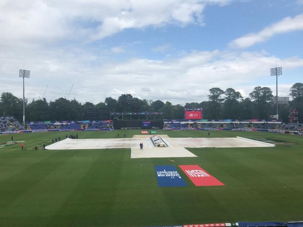 Covers on at Sophia Gardens in Cardiff (Photo/cricketworldcup Twitter)