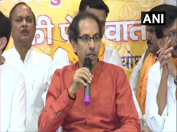 Shiv Sena chief Uddhav Thackeray speaking to media persons in Ayodhya on Sunday. Photo/ANI