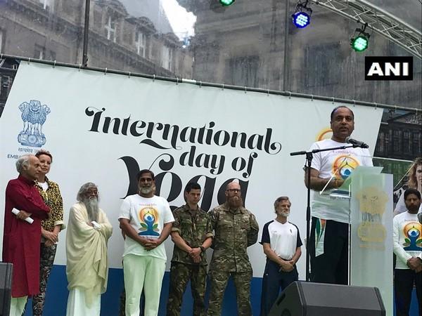 Himachal Pradesh Chief Minister Jai Ram Thakur attending an event marking the celebration of International Yoga Day in Amsterdam on Sunday.