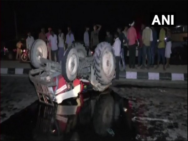 A visual from the site of the accident which took place in Sitapur on Monday night. (Photo/ANI)