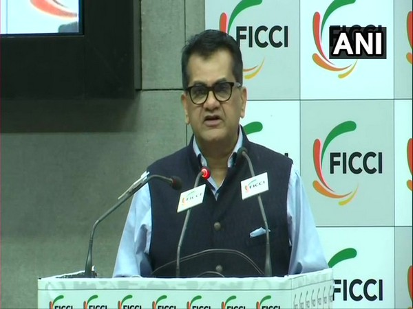 NITI Aayog CEO Amitabh Kant speaking at an event in New Delhi on Monday. (Photo/ANI)
