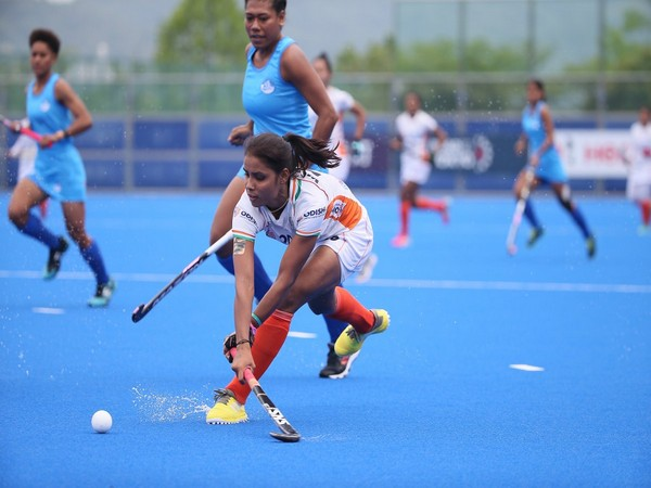 Indian Women Hockey player in action against Fiji