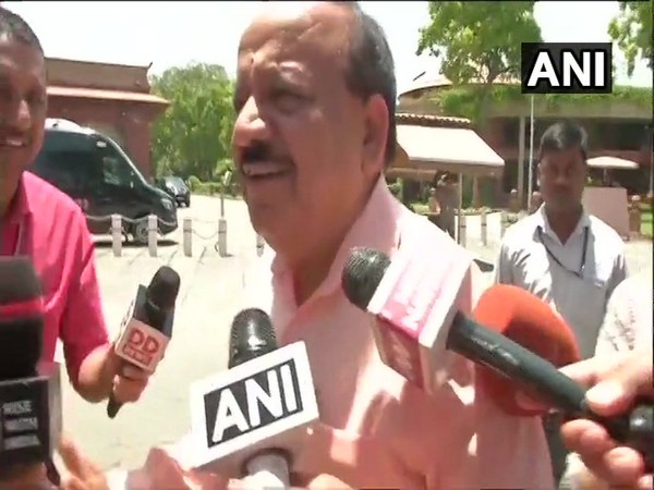 Union Health Minister Dr Harsh Vardhan speaking to media persons outside Parliament in New Delhi on Tuesday. Photo/ANI