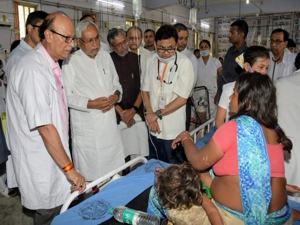 Chief Minister Nitish Kumar along with Sushil Modi in SKMCH in Muzaffarnagar. Photo/ANI
