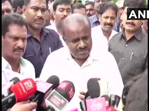 Karnataka Chief Minister HD Kumaraswamy while speaking to media on Tuesday (ANI)